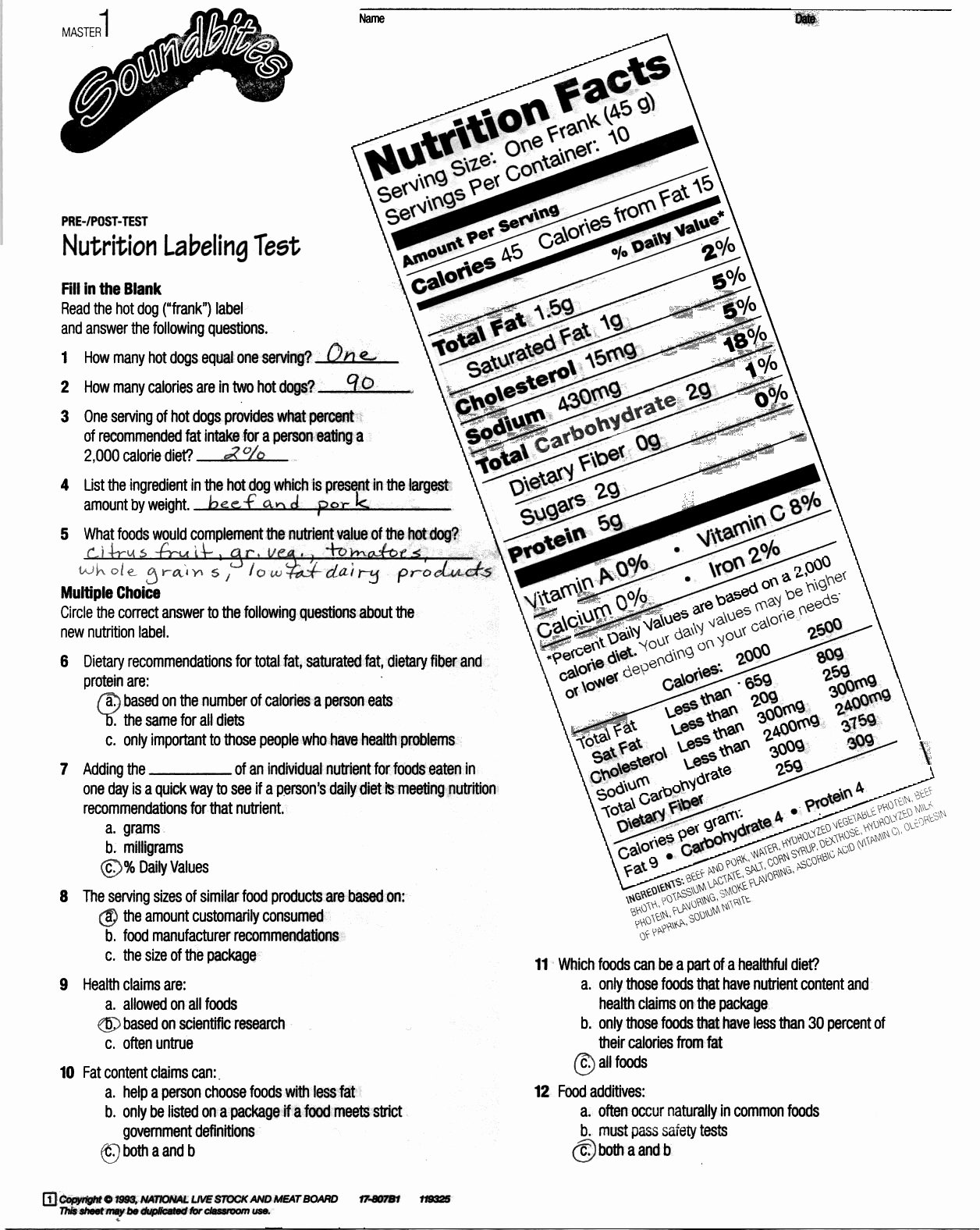 Nutrition Label Worksheet Answer Key Best Of Reading Nutrition Labels Worksheet High School – Besto Blog