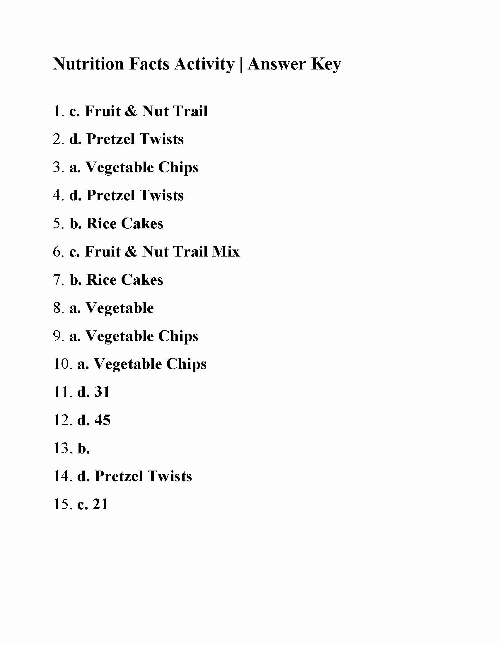 Nutrition Label Worksheet Answer Key Elegant Nutrition Reading Prehension Worksheets Pdf – Blog Dandk
