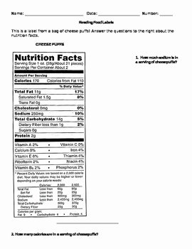Nutrition Label Worksheet Answer Key Elegant Reading Food Labels Worksheet by Miss Doubleu