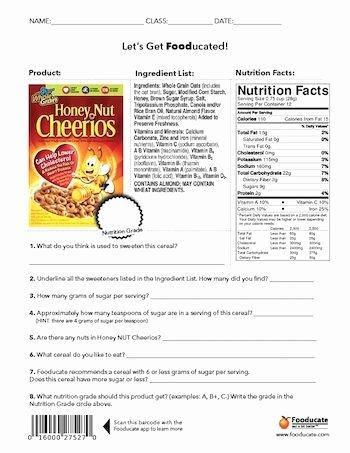 Nutrition Label Worksheet Answer Key Inspirational Nutrition Label Worksheet Answer Key