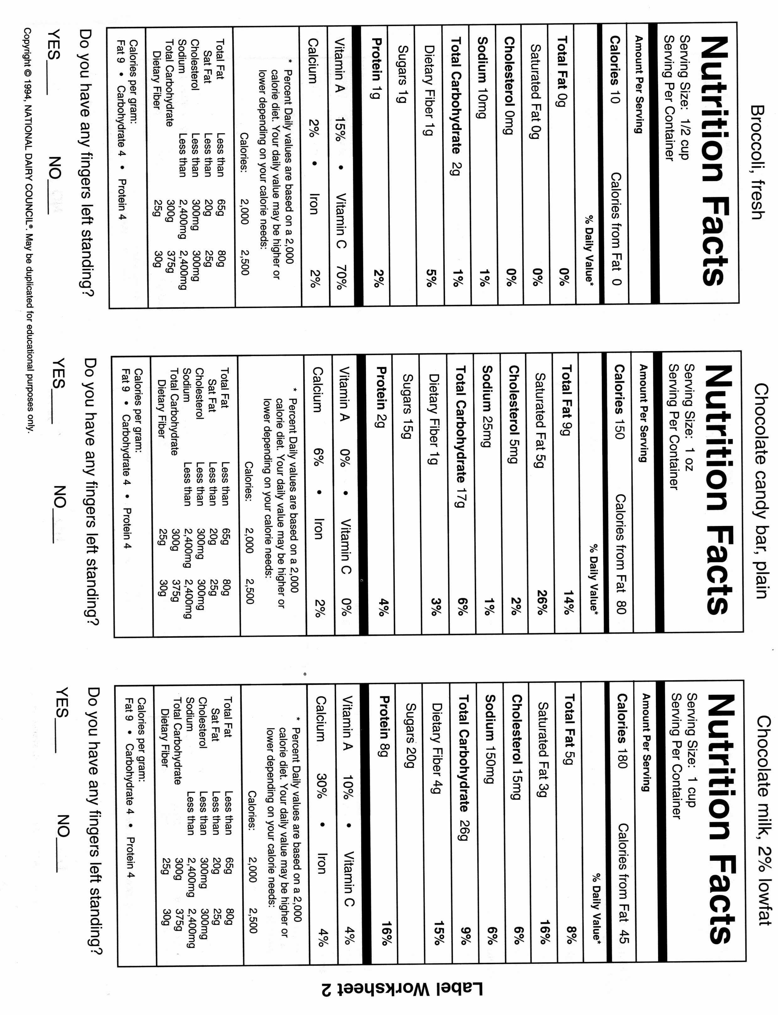 Nutrition Label Worksheet Answer Key Lovely 16 Best Of Nutrition Label Worksheet Printable