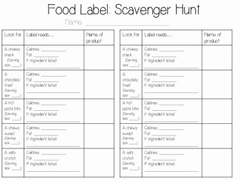 Nutrition Label Worksheet Answer Key New Food Label Scavenger Hunt Freebie by Becca Campbell