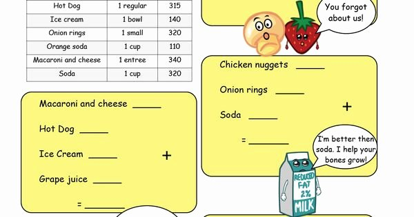 Nutrition Label Worksheet Answer Key New High Calorie Low Nutrition Meal Math Worksheet Please