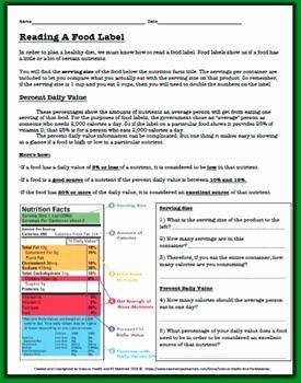 Nutrition Label Worksheet Answer Key New Reading A Food Label Worksheet