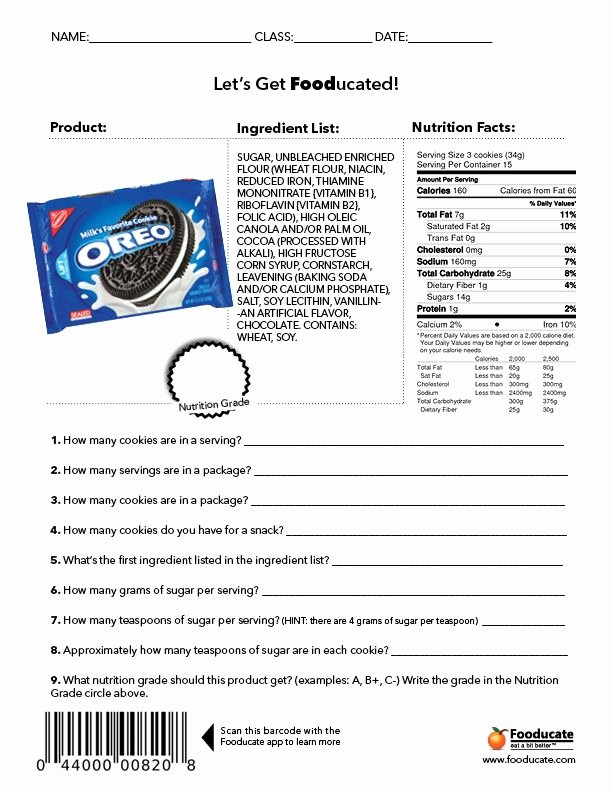 Nutrition Label Worksheet Answer Key Unique Fun Nutrition Worksheets for Kids