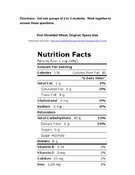 Nutrition Label Worksheet Answer Key Unique Nutrition Label Worksheet Answer Key Pdf
