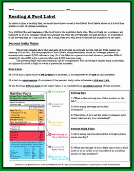 Nutrition Label Worksheet Answer Luxury Reading A Food Label Worksheet by Science Health and Pe