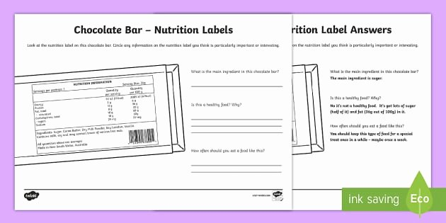 Nutrition Label Worksheet Answer New Chocolate Bar Nutrition Label Worksheet Worksheet