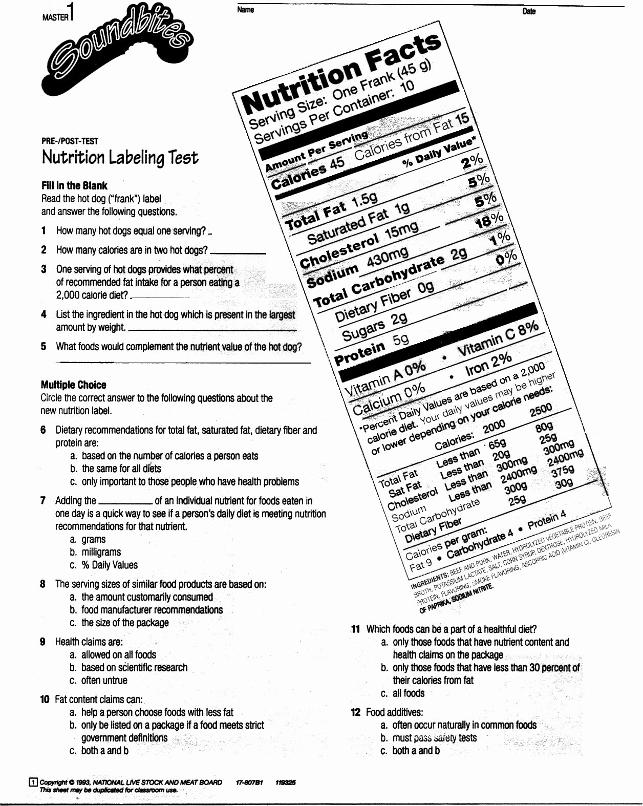 Nutrition Label Worksheet Answer New Reading Nutrition Labels Worksheet Answers