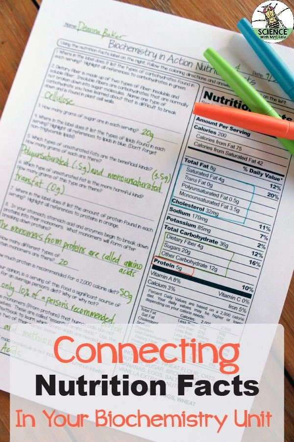 Nutrition Label Worksheet Answers Awesome Nutrition Facts Biology Homework Worksheet