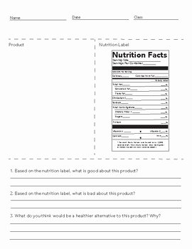 Nutrition Label Worksheet Answers Awesome Nutrition Facts Worksheet by La Bria Wimberly