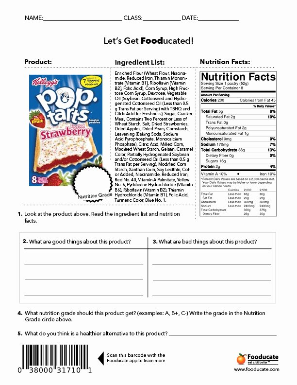 Nutrition Label Worksheet Answers Awesome Reading Nutrition Labels Worksheet Answers