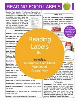 Nutrition Label Worksheet Answers Best Of Reading Food Labels Content Sheet Worksheet and Answer