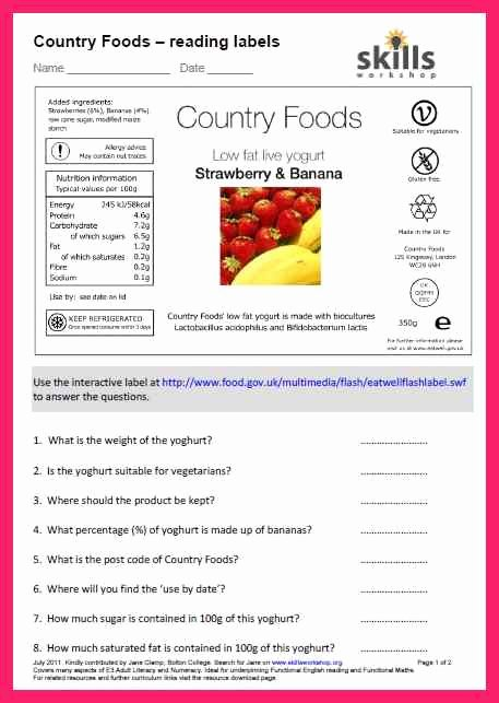 Nutrition Label Worksheet Answers Fresh 18 Informative Food Label Worksheets