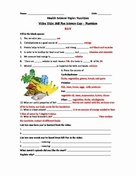 Nutrition Label Worksheet Answers Luxury Bill Nye Science Guy Movie – Nutrition Video Worksheet