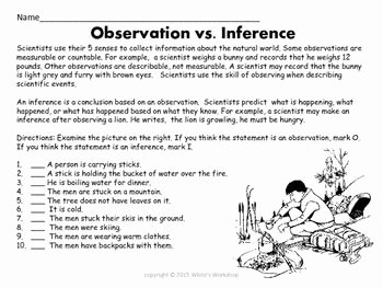 Observation and Inference Worksheet Awesome Pin On White S Workshop