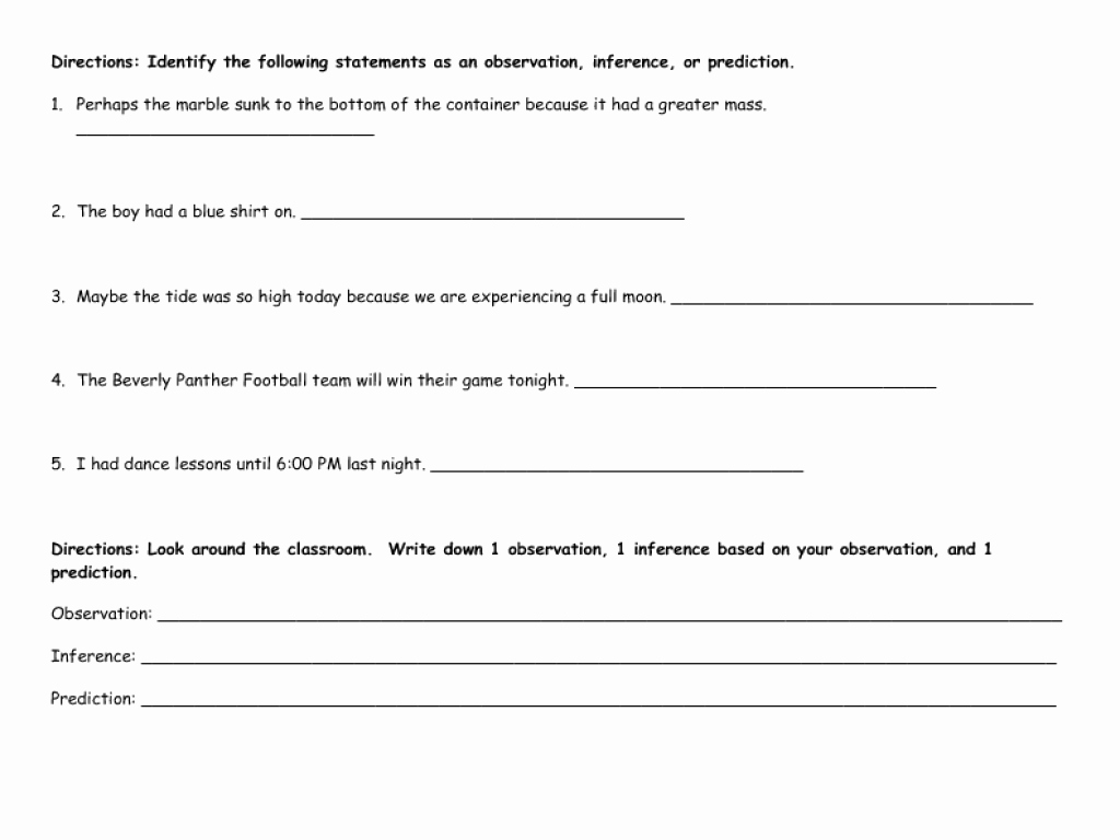 Observation and Inference Worksheet Beautiful Worksheet Observation and Inference Worksheet Hunterhq