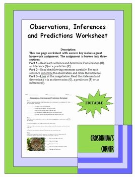 Observation and Inference Worksheet Best Of Observations Inferences and Predictions Worksheet by