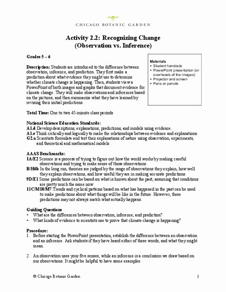 Observation and Inference Worksheet Best Of Recognizing Change Observation Vs Inference Lesson Plan
