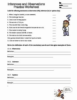 Observation and Inference Worksheet Inspirational Observation Inferences Scientific Method Practice