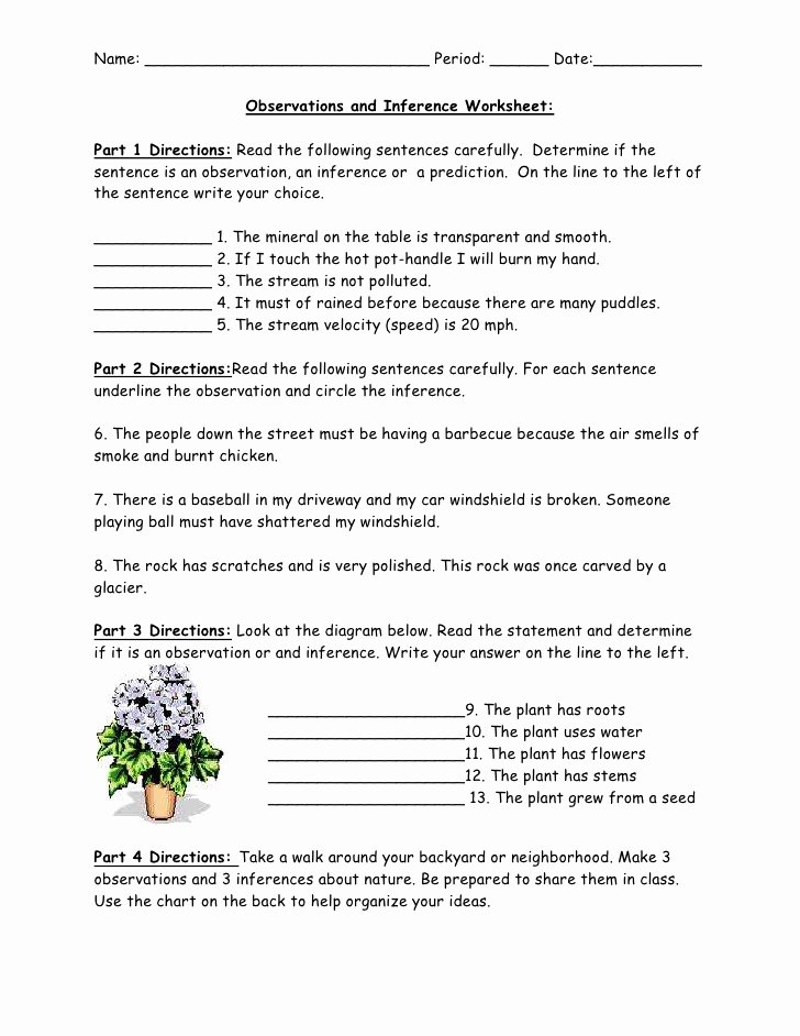 Observation and Inference Worksheet Lovely Observations and Inference Worksheet