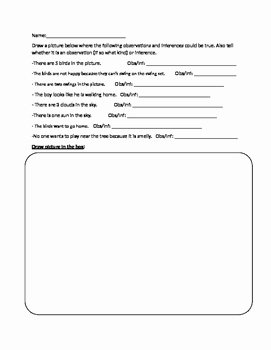 Observation and Inference Worksheet Luxury Observation Vs Inference Worksheet by Crazyteach