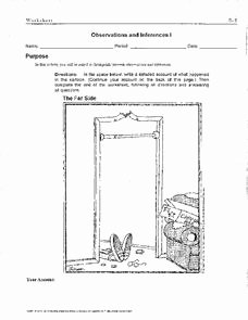 Observation and Inference Worksheet Unique Observations and Inferences Worksheet for 4th 7th Grade