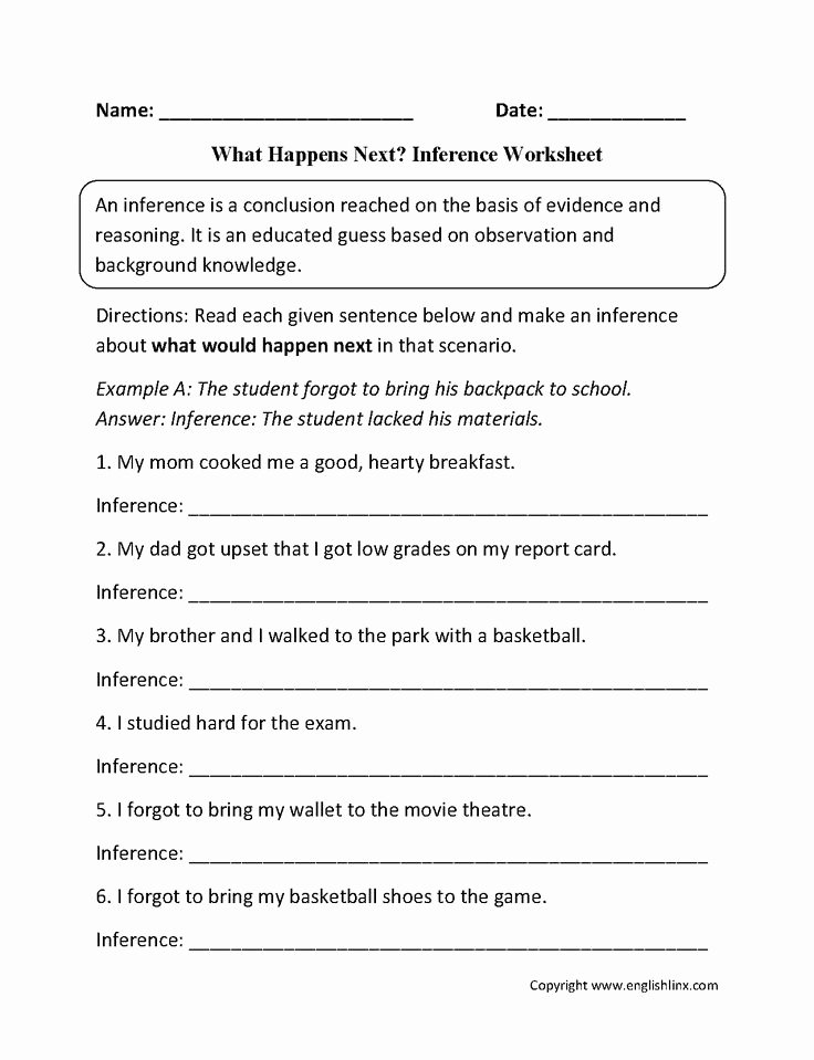 Observation and Inference Worksheet Unique What Happens Next Inference Worksheets