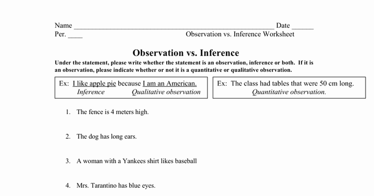Observation Vs Inference Worksheet Beautiful Observation Vs Inference Worksheet Mystreamingub