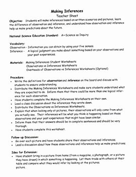 Observation Vs Inference Worksheet Lovely Making Inferences Observation Vs Inference by Barbara J