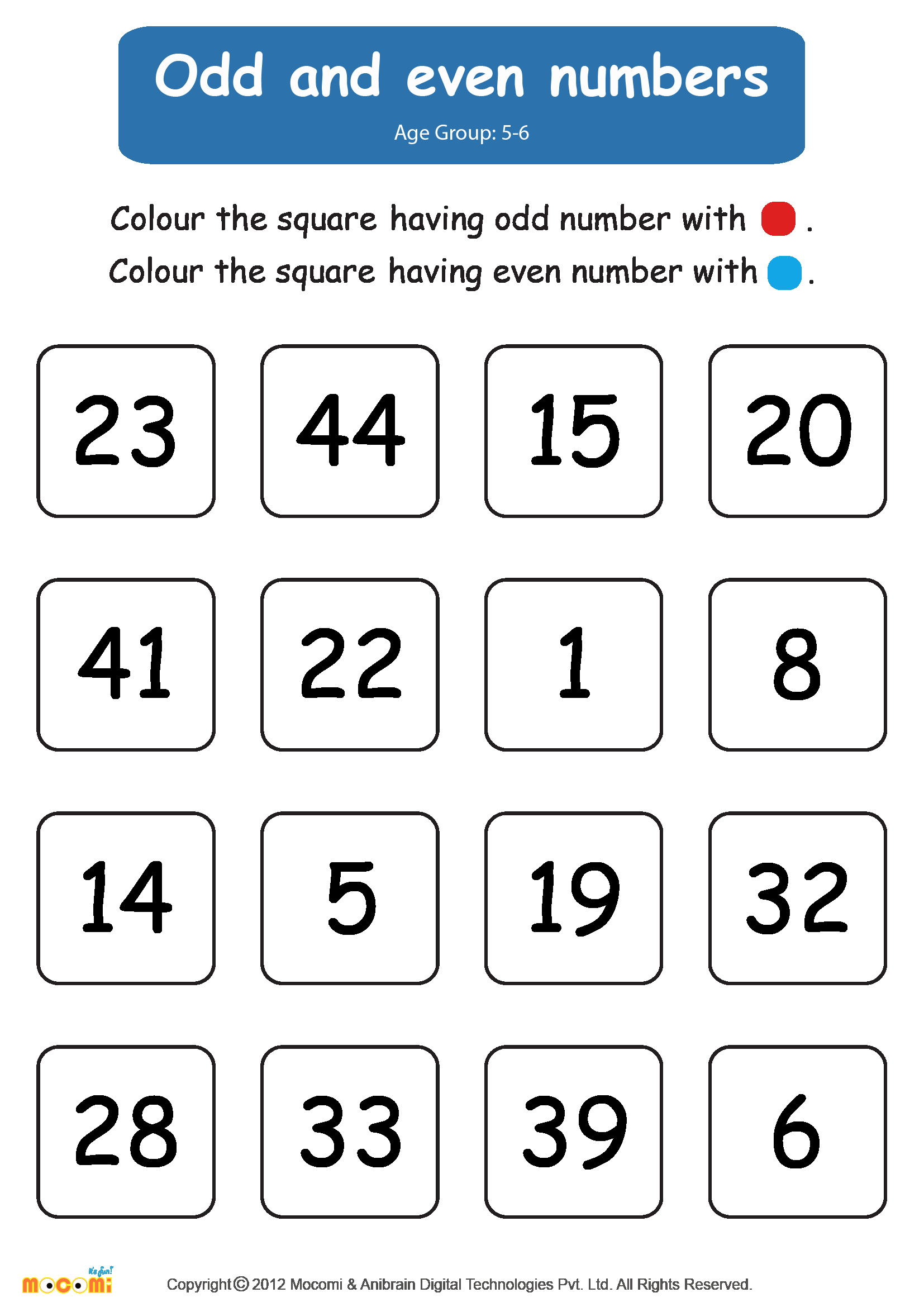Odd and even Numbers Worksheet New Odd and even Numbers Worksheet for Kids