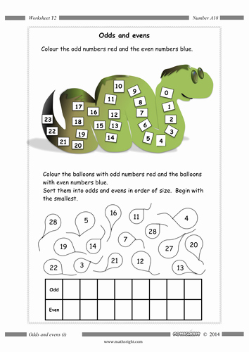 Odds and even Worksheet New Odds and evens 5 Worksheets by Mathsright