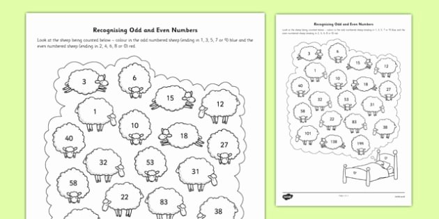 Odds and even Worksheet New Recognising Odd and even Numbers Worksheet Activity Sheet
