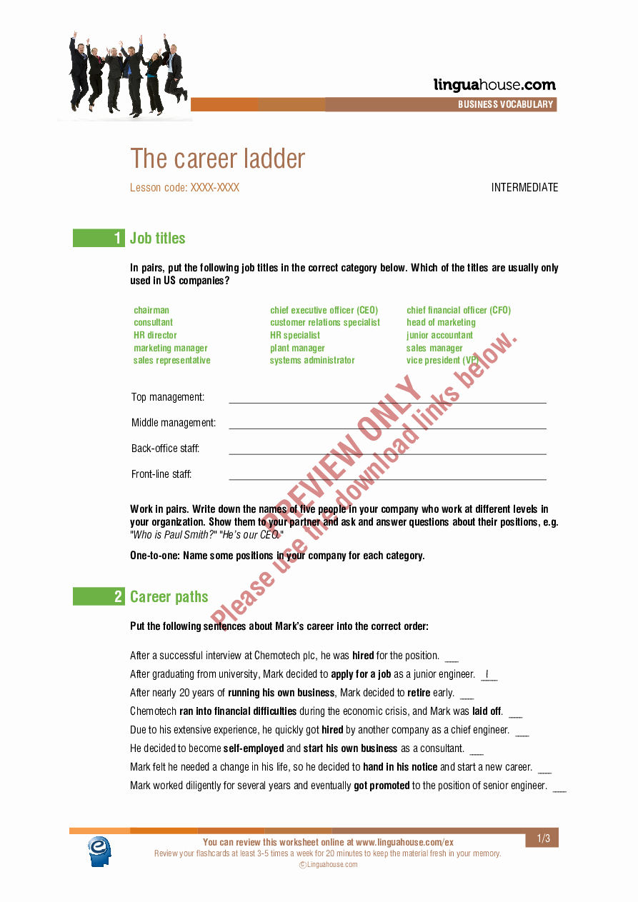 Ohm's Law Worksheet Answers Beautiful the Career Ladder Worksheet Preview Linguahouse