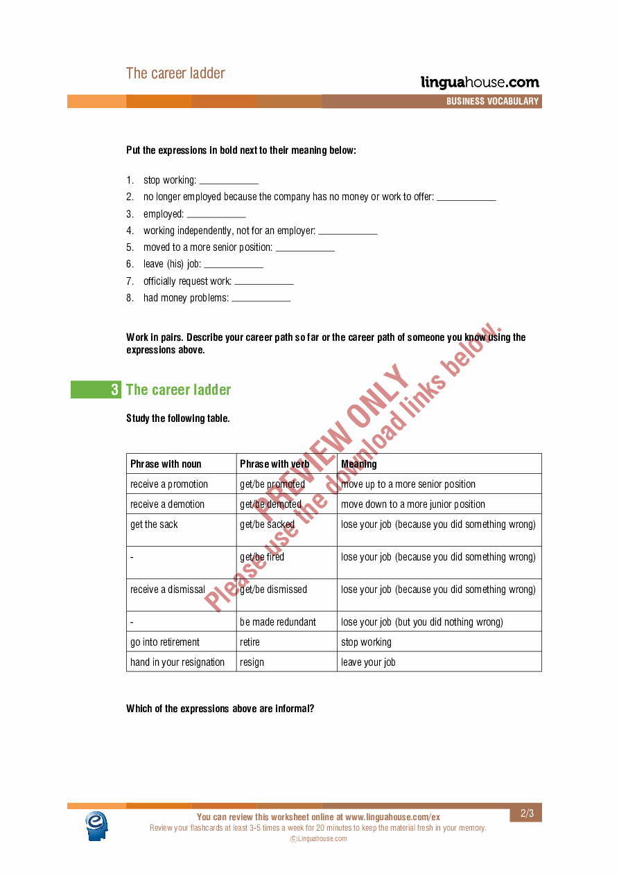 Ohm's Law Worksheet Answers Inspirational the Career Ladder Worksheet Preview Linguahouse