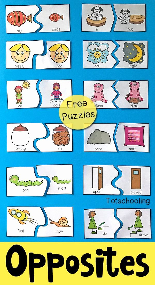 Ohm's Law Worksheet Answers New Opposites Puzzles for Preschool Kindergarten