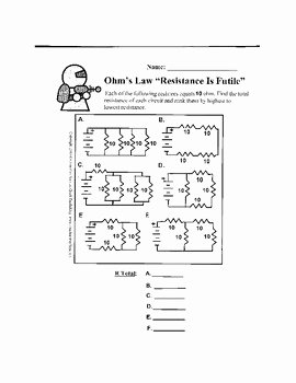 Ohm's Law Worksheet Answers Unique Ohm S Law and Resistance Worksheet Resistance is Futile