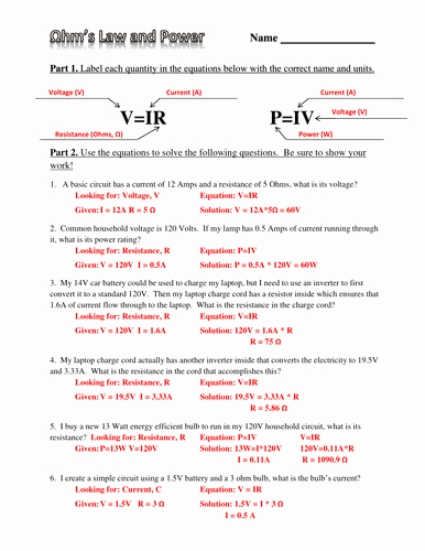 Ohm's Law Worksheet Answers Unique Ohm S Law Electric Power and Energy Practice Worksheet