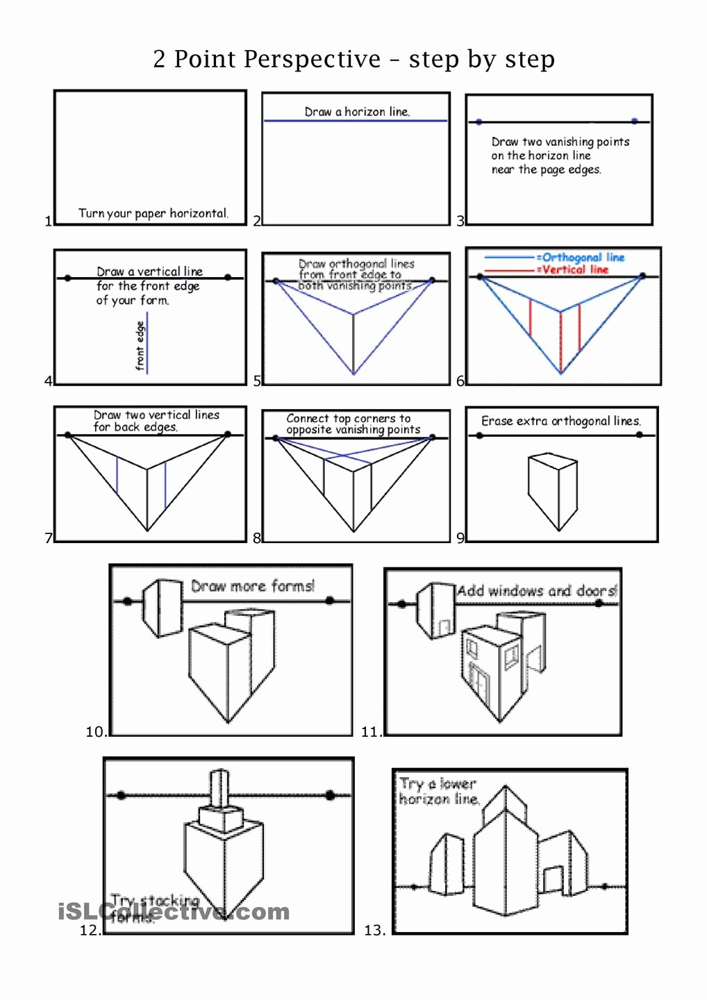 One Point Perspective Worksheet Awesome 2pt Perspective Middle School Art