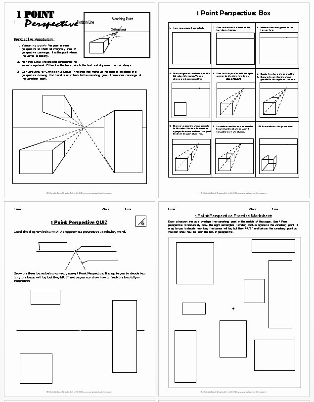 One Point Perspective Worksheet Elegant 1 Point Perspective Lesson Plan 1 Boxes Create Art with Me