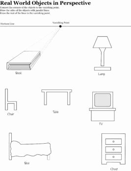 One Point Perspective Worksheet Inspirational E Point Perspective Real Word Objects