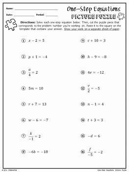 One Step Equations Worksheet Pdf Beautiful E Step Equations Picture Puzzle by Chilimath Algebra