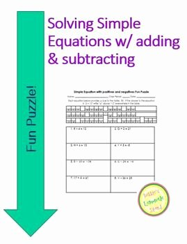 One Step Equations Worksheet Pdf Best Of Equations Fun Puzzle solving Adding and Subtract One