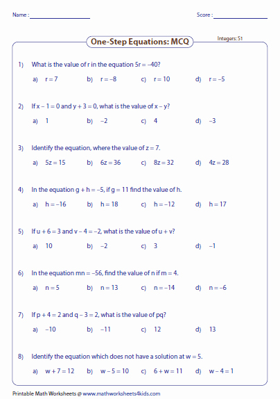 One Step Equations Worksheet Pdf Elegant E Step Equation Worksheets