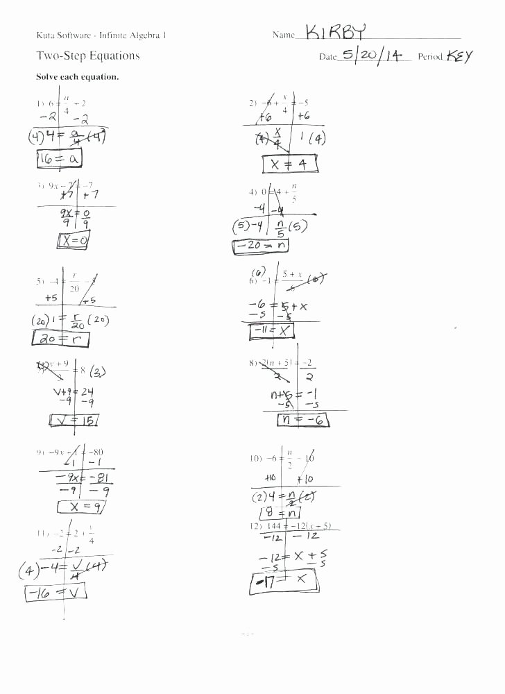 One Step Equations Worksheet Pdf Elegant One and Two Step Equations Worksheets