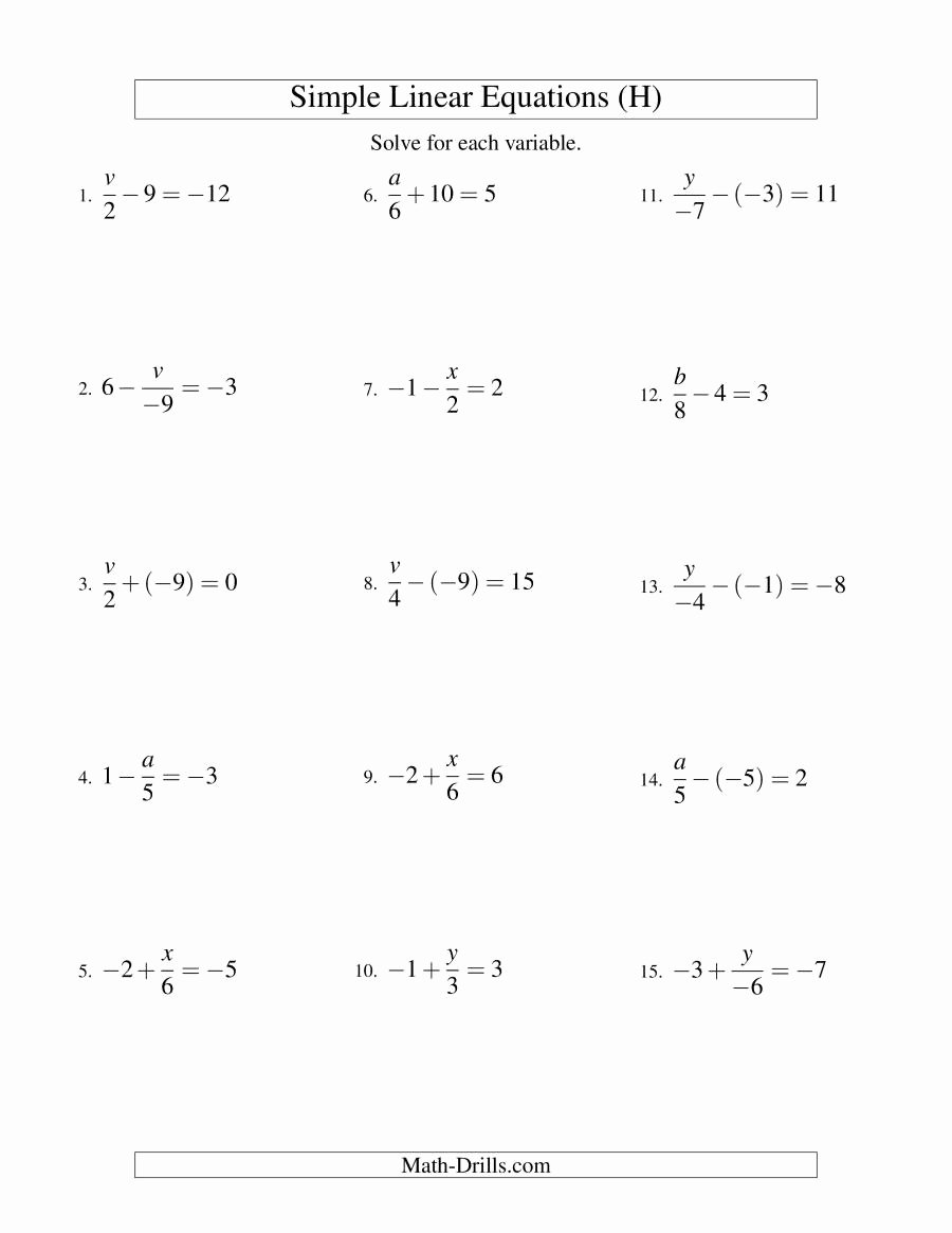 One Step Equations Worksheet Pdf Elegant solving E and Two Step Equations Worksheet Kuta