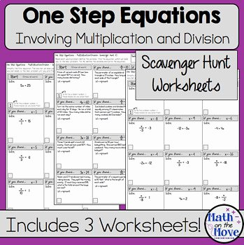 One Step Equations Worksheet Pdf Fresh E Step Equations Multiplication and Division Scavenger