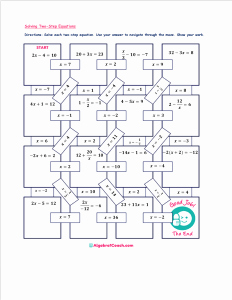 One Step Equations Worksheet Pdf Inspirational Free Maze solving Equations Activities ⋆ Algebra 1 Coach
