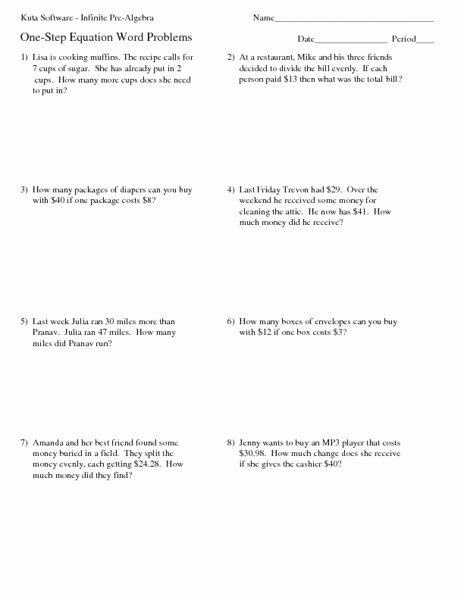 One Step Equations Worksheet Pdf Luxury E Step Equation Word Problems Worksheet for 4th 5th