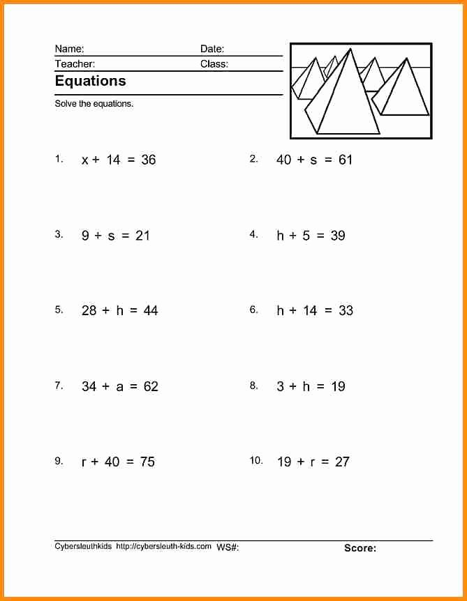 One Step Equations Worksheet Pdf New E Step Equation Worksheet Equations
